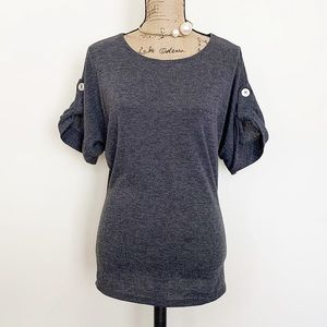 Mandee grey button detail gathered sleeves top